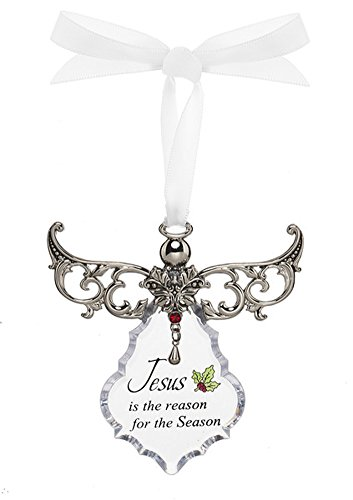 Jesus is the Reason For The Season Zinc Acrylic Angel Blessing Ornament