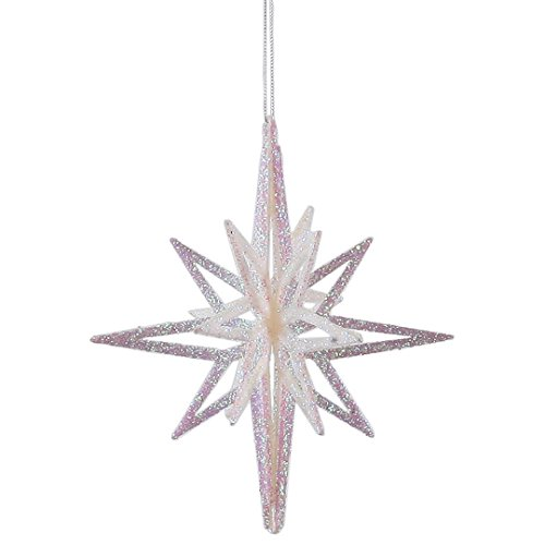 Vickerman M158101 Plastic Iridescent with 3D Glitter Star in 3/Bag, 8″ , White