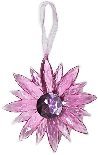 Crystal Expressions Acrylic 5 Inch Small Jewel Flower Ornament Suncatcher (Lt Pink)