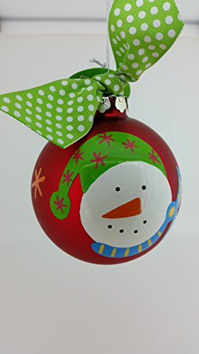 Snowman Face Glass Ornament