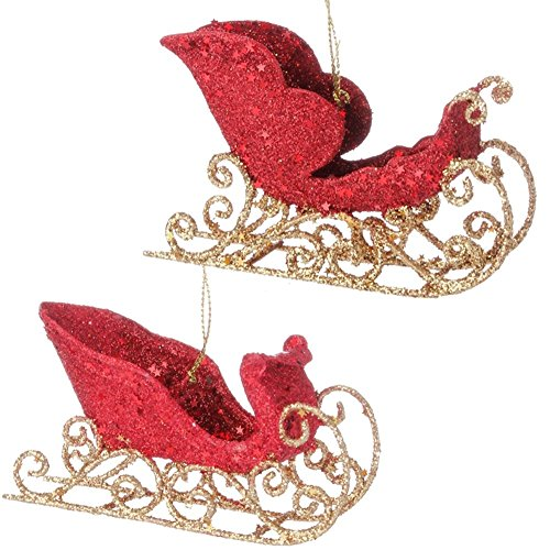 Timeless Trimmings Red Gold Glittered Sleigh Ornament 3-in 3514107