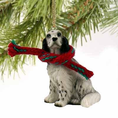 English Setter Miniature Dog Ornament – Black Belton