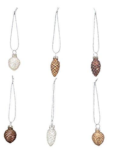 Primitives By Kathy Miniature Pinecone Glass Ornaments 6pc Set #21817