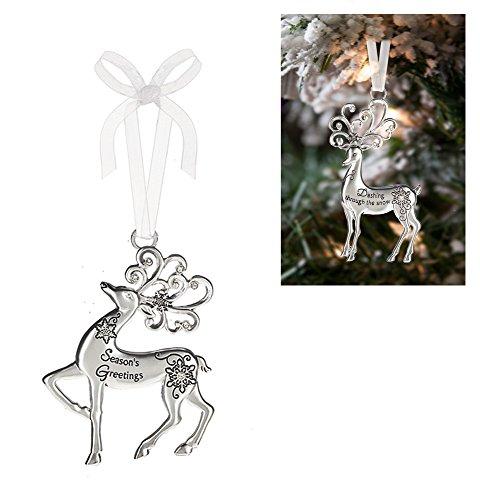 Prancing Reindeer Ornament: Season's Greetings – By Ganz