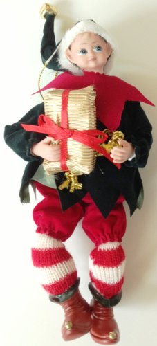 7″ tall Christmas Elf Black Coat with Gold Gift Package Hanging Christmas Ornament
