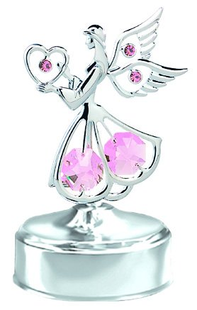 Best Gift for Valentine's Day – Chrome Mini Angel with Heart Music Box – Pink Swarovski Crystal