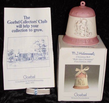 "M.J. Hummel 1989 Collectible Edition Christmas Bell – ""Ride Into Christmas"" Goebel Antique Holiday Ornament / Figurine from Germany – Mint condition"