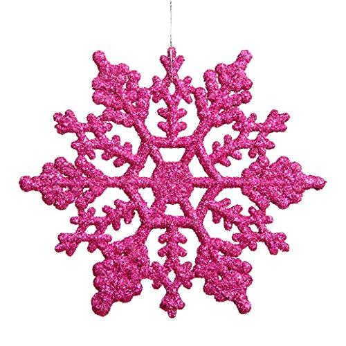 Vickerman 21447 – 4″ Magenta Glitter Snowflake Christmas Tree Ornament (24 pack) (M101410)
