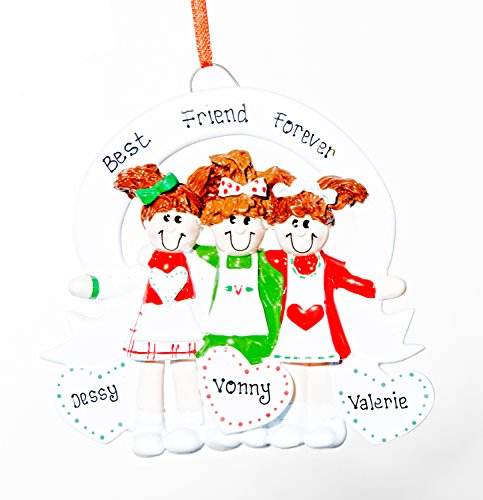Personalized Christmas Ornament – 3 Friends/Sisters – Free Names Added, Shipped Next Day