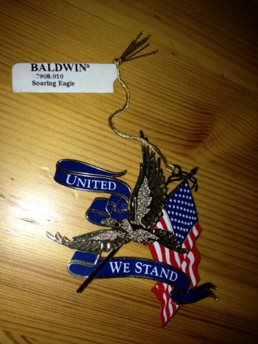Soaring Eagle American Flag United We Stand Ornament