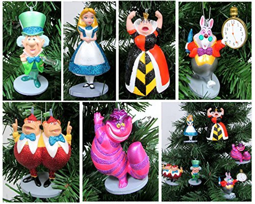 Alice in Wonderland 6 Piece Christmas Tree Ornament Set Featuring Alice, White Rabbit, Cheshire Cat, Queen of Hearts, Mad Hatter, and Tweedle Dum & Tweedle Dee – Shatterproof Design 3″ to 4″ Tall