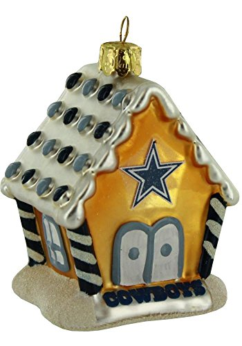 Dallas Cowboys 3.5″ Blown Glass Gingerbread House Ornament