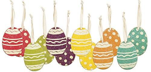 PBK Easter Ornaments – Spring Stripe & Dots Glitter Eggs Set of 6 #26476
