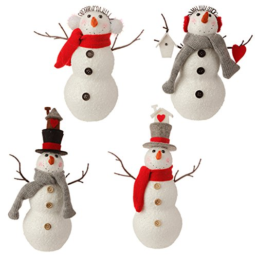 RAZ Imports – Graphic Woodland – 10″ Snowman Christmas Tree Ornaments – Set of 4