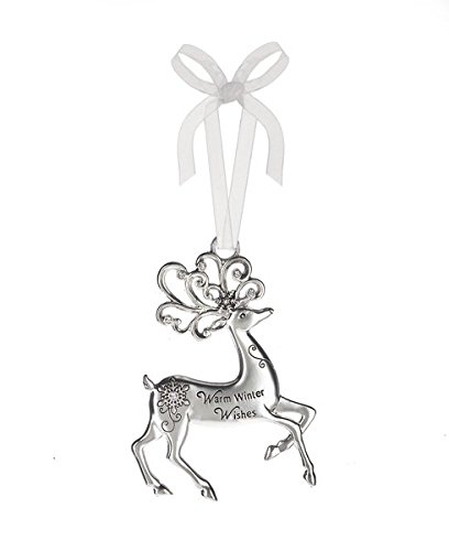 Warm Winter Wishes – Silver Reindeer Zinc Epoxy Glass Christmas Ornament