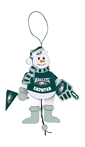 NFL Philadelphia Eagles Wooden Cheering Snowman Ornament