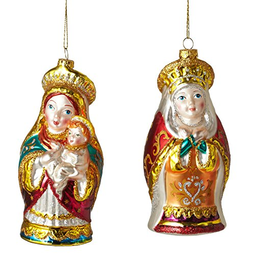 Christmas Holiday Cultural Figurine Mary & Baby Jesus Ornament – Assorted, 6″ x 2.5″