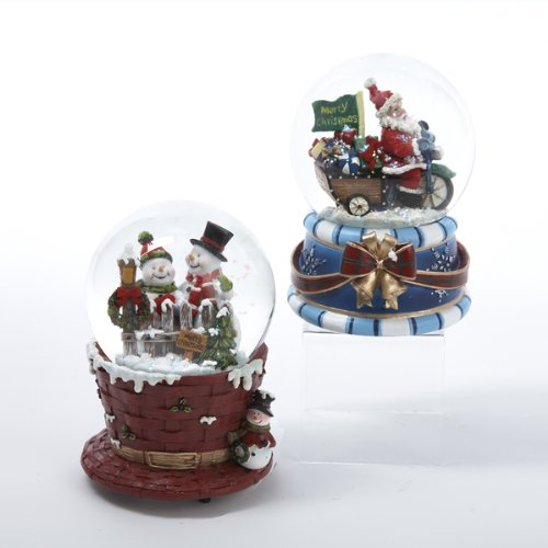 Kurt Adler 100mm Musical Santa/snowman Waterglobe