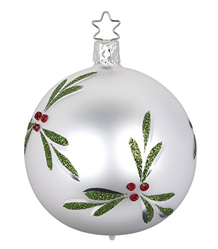 Ball 6 cm, Christmas Berries, White Matte, #20298T006, from the 2016 Christmas Memories Collection by Inge-Glas Manufaktur; Gift Box Included