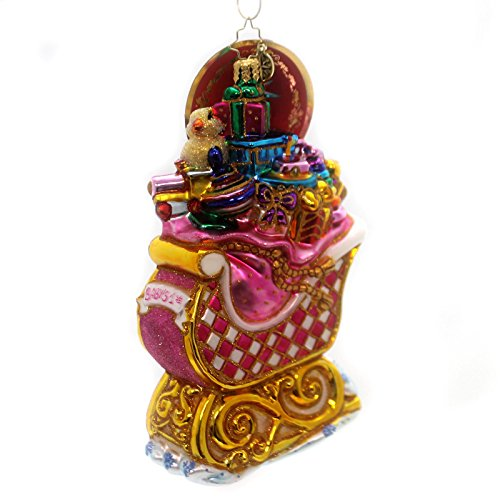 Christopher Radko Babys Bounty Sleigh Pink Baby Girl Christmas Ornament
