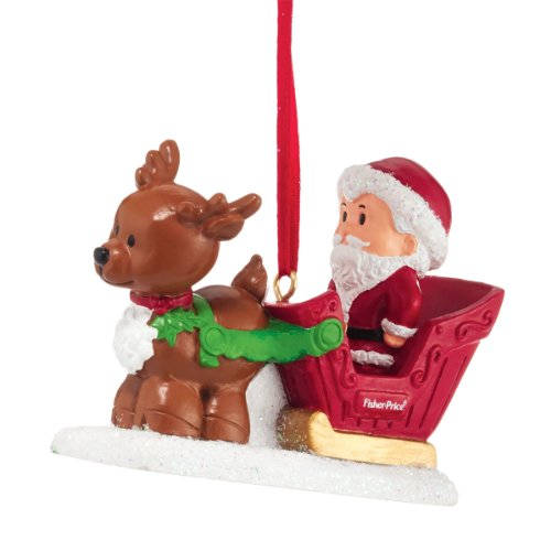 Department 56 Fisher Price Little People Santa's Sleigh Ornament, 2.6-Inch
