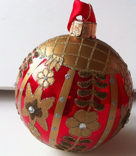 Waterford Red Holiday Floral Ball #153836