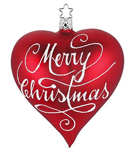 Heart, Merry Christmas, Red Matte, #20292T044, from the 2016 Christmas Memories Collection by Inge-Glas Manufaktur; Gift Box Included