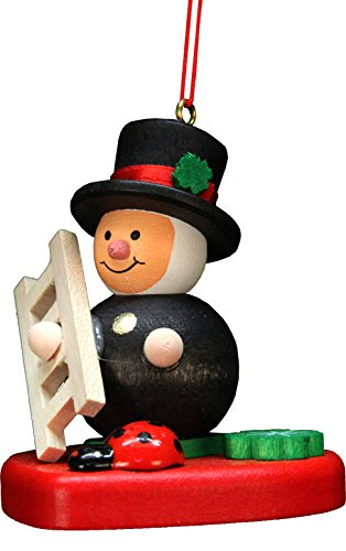 "10-0578 – Christian Ulbricht Ornament – Chimney-Sweep on Heart – 2.25″""H x 2″""W x 1.75″""D"