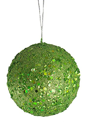 Vickerman Fancy Lime Green Holographic Glitter Drenched Christmas Ball Ornament, 4″