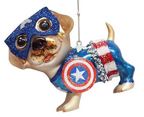 December Diamonds Blown Glass Ornament – Patriotic Superhero Yellow Labrador Dog