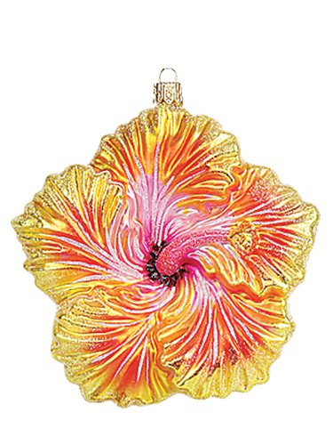 Yellow Hibiscus Tropical Flower Polish Blown Glass Christmas Ornament Decoration