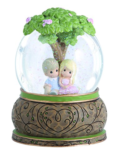 "Precious Moments, Valentine's Day Gifts, ""Couple Under Tree"", Resin/Glass Snow Globe, Musical, #143100"