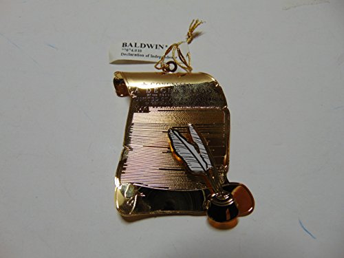 Baldwin DECLARATION OF INDEPENDENCE Ornament, Brass with 25k Gold Overlay