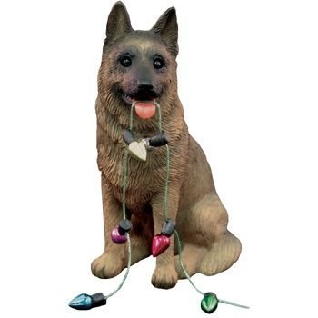 Sandicast German Shepherd Holding Holiday Lights Christmas Ornament by Sandicast