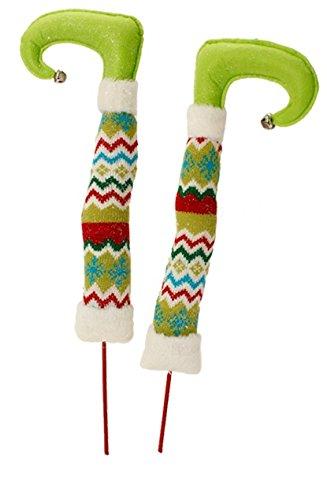 RAZ Imports – Tinsle Tangle – 17″ Christmas Elf Legs – Lime Feet