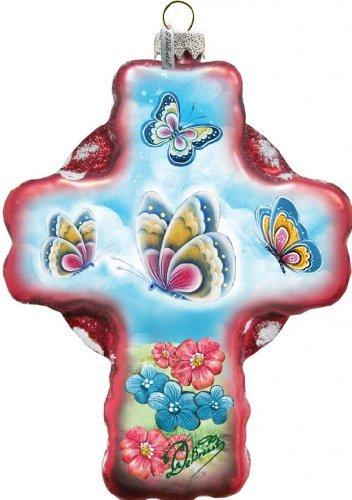 G. Debrekht Butterflies Cross Glass Ornament