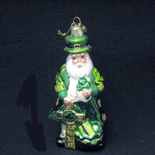 Kurt Adler Noble Gems Glass Irish Santa Christmas Ornament