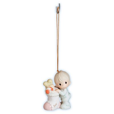 """2002 Precious Moments """"Holiday Surprises Come in All Sizes ~ Son"""" Christmas Ornament"""