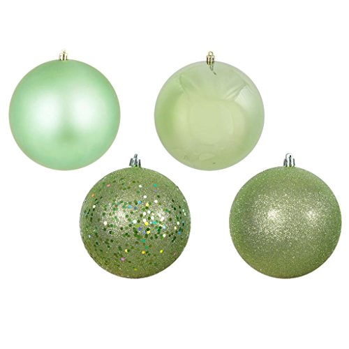 Vickerman 443330 – 1″ Celadon Ball Christmas Tree Ornaments 4 Assorted Finishes Assorted (18 pack) (N590354)