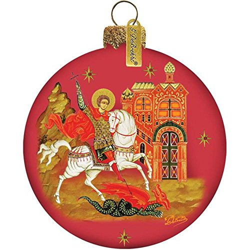 G. Debrekht St. George Ball Ornament, Hand-Painted Glass, 3-1/2-Inch, Includes Satin Ribbon for Hanging