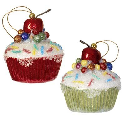 Christmas Tree Cupcake Ornament, with Cherry & Sparkles, Set of 2 Colors Red & Green