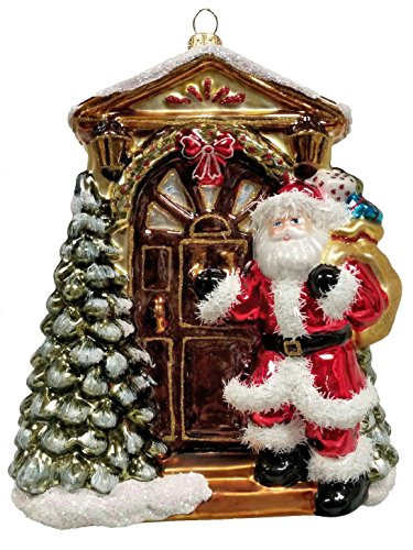 Santa Claus Knocking at the Door with Presents Polish Glass Christmas Ornament