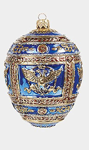 Blue Imperial Napoleon Egg Faberge Inspired Polish Blown Glass Holiday Ornament