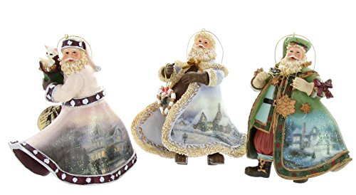 Thomas Kinkade Old World Santa Ornaments (Set of 3) Issue #18