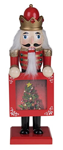 Wooden Red and Gold Picture Frame Nutcracker King- 9″ Tall