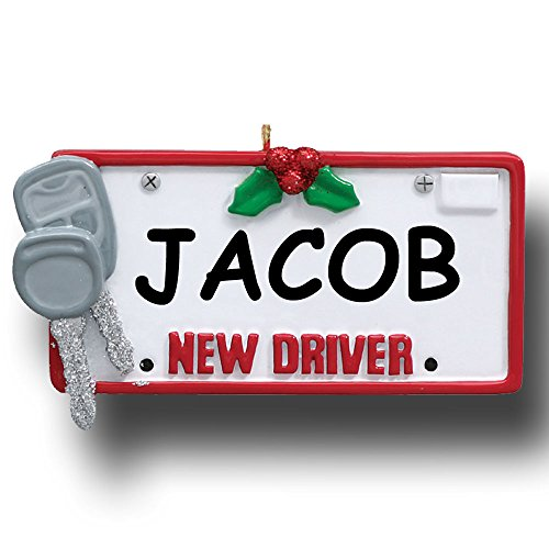 Personalized Driver Car License Plate with Keys Christmas Ornament with Name