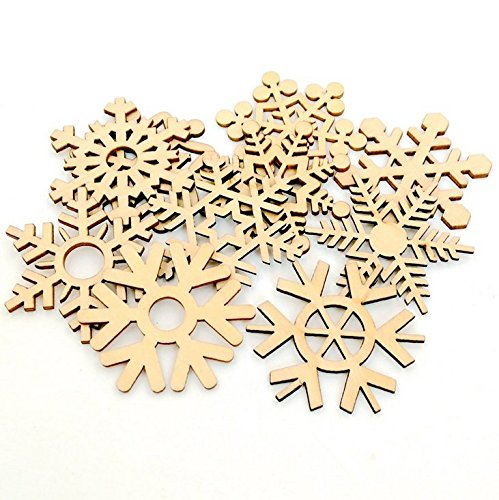 RD Lane 10pcs Wooden Snowflake Slices, Tree Ornaments Cutouts Craft Embellishment for Christmas Decoration Holiday Home Decor