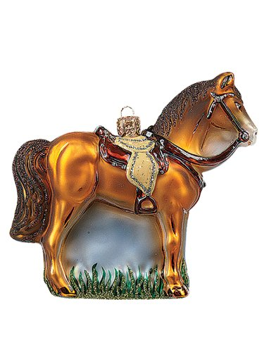 Western Horse Andalusian Polish Mouth Blown Glass Christmas Ornament Decoration