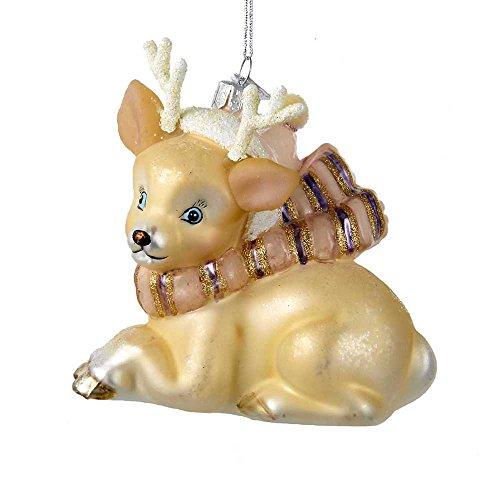 Kurt Adler 4″ Noble Gems Glass Ivory Deer Ornament