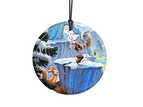 Thomas Kinkade Artwork (Ice Age – Scrat) StarFire Prints(TM) Hanging Glass Ornament – Home and Christmas Tree Decoration